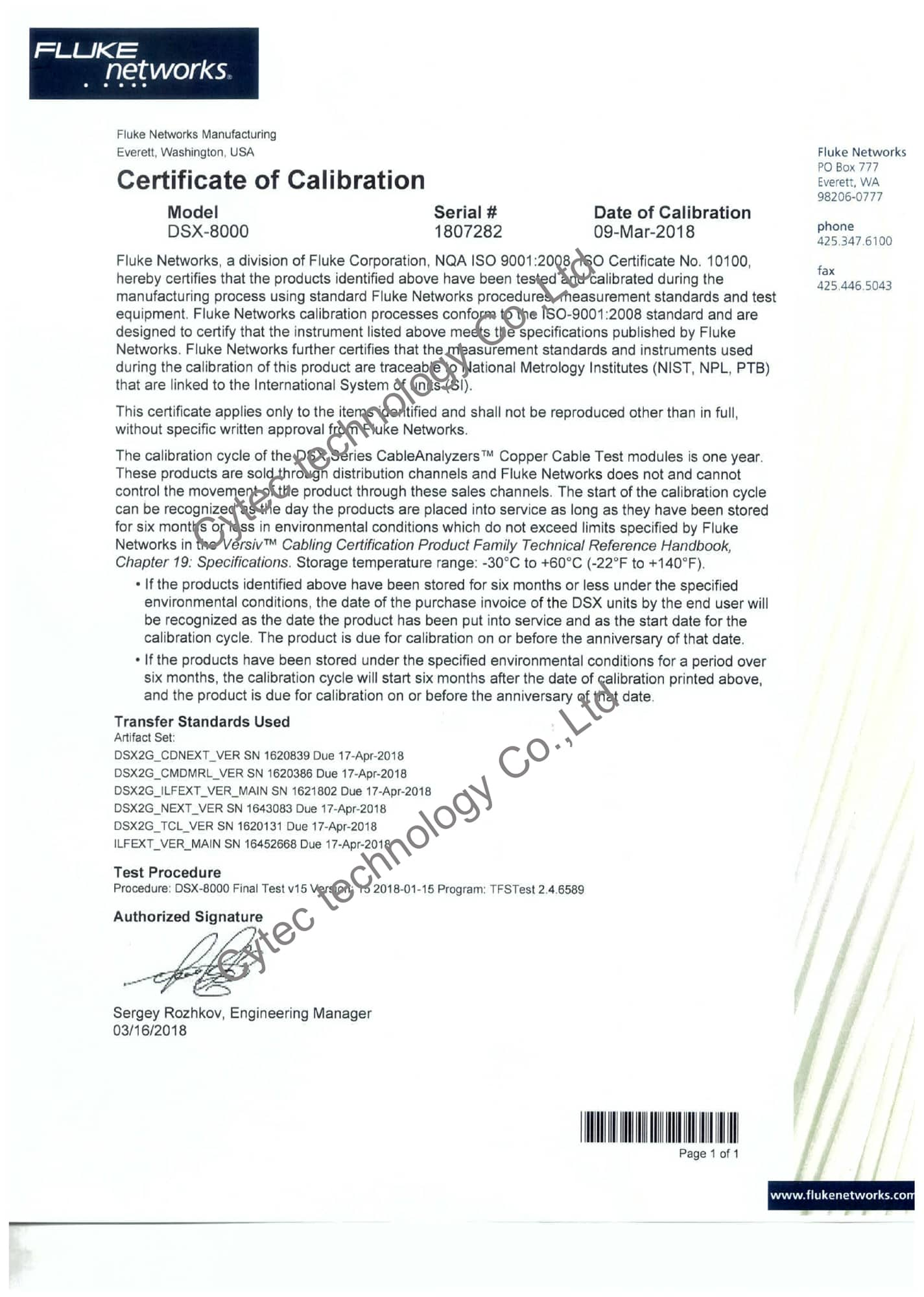 ผลการ Calibration DSX2 8000